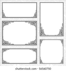 Decorative set of matching frames. Perfect forcertificates, invitations or announcements
