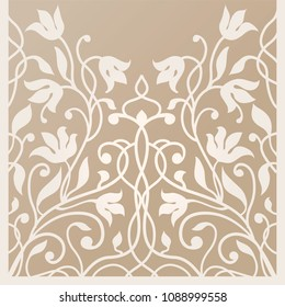 Decorative silhouette for cutting card, door, gate, window. Art Nouveau flowers pattern. Laser cut. Ratio 1:1. Vector illustration.