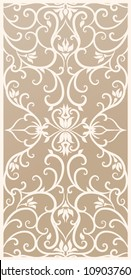 Decorative silhouette for cutting card, door, gate, window. Baroque, Renaissance flowers pattern. Laser cut. Ratio 2:1 Vector illustration