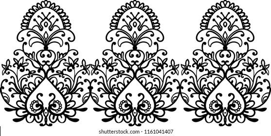 Decorative silhouette for cutting card, door, gate, window. Henna decorative design. Tattoo idea. Laser cut. Lace style. Vector illustration