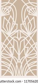 Decorative silhouette for cutting card, door, gate, window. Art Deco flowers pattern. Laser cut. Ratio 1:2 Vector illustration