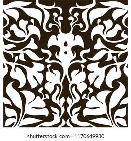 Decorative silhouette for cutting card, door, gate, window. Art Nouveau flowers pattern. Laser cut. Ratio 1:1 Vector illustration