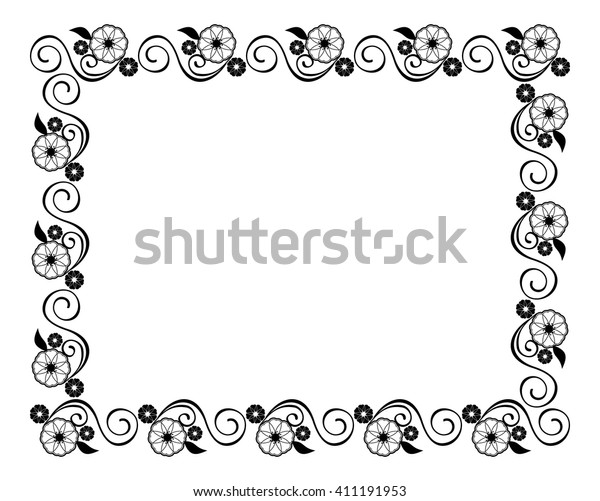 Decorative silhouette frame with floral elements for decoration of the wedding invitations and birthday cards. Vector clip art.