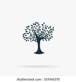 Decorative simple tree. Flat vector web icon or sign on grey background with shadow. Collection modern trend concept design style illustration symbol