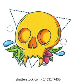 Decorative skull with ornament, flower and leaves. Hand drawn vector illustration for t-shirt.
