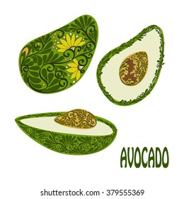 Decorative  slice isolated avocado on white background. Vector illustration.