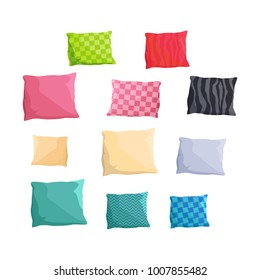 Decorative small cushions plain and with patterns and bright colors isolated vector illustration on white background. Stylish accessories for couch.