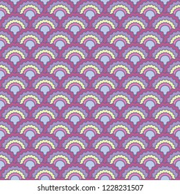 Decorative snake skin scales squama background, vector seamless fabric pattern, tiled textile print. Classic chinese squama scales seamless arc tiles background. Roof pattern.