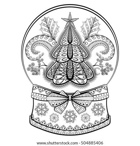Decorative Snow Globe Christmas Tree Mistletoe Stock Vektorgrafik