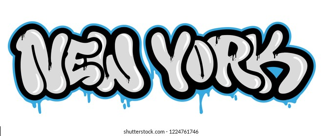 Decorative souvenir vandal lettering with famous city New york in Graffiti bombing style on wall using aerosol spray paint Street style type lettering for poster cover print clothes pin patch sticker.