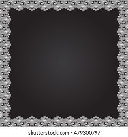 Decorative square frame with abstract ornament on black background. White ethnic border. Layout for your design with place for text. Vector illustration