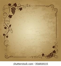 Decorative square frame with bunch of grapes, grape leaves,  swirls on grunge background. Vector image.