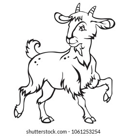 royalty free white and black goat kid images stock photos vectors Alpine Boer Goat decorative standing funny cartoon goat kid monochrome vector illustration in black color isolated on white
