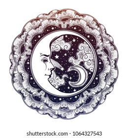 Decorative starry ornate vintage boho frame with crescent moon face with night stars, clouds. Magic outdoors. Tattoo, travel, adventure. Isolated vector illustration. Astrology, alchemy, magic symbol.