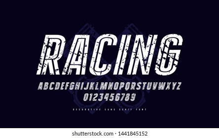Decorative striped italic sans serif font. Letters and numbers with rust texture for logo and emblem design. White print on black background
