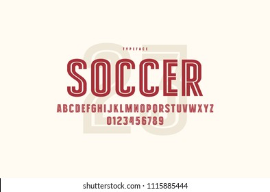 Decorative striped sans serif font. Letters and numbers for logo and emblem design. Color print on white background