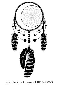 Decorative stylized dreamcatcher in black and white illustration.