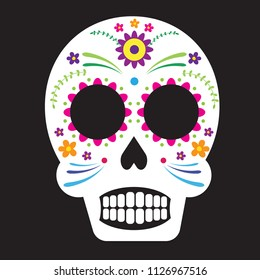 Decorative sugar skull with colorful floral elements on black background