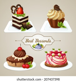Decorative sweets desserts set with shortcrust sponge cake and pudding isolated vector illustration.