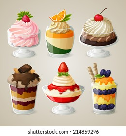 Decorative sweets food ice cream in glass desserts with sugar syrup fruits vector illustration