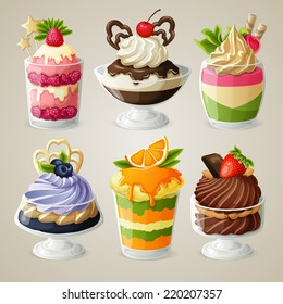 Decorative sweets ice cream and mousse in glass desserts with chocolate fruits and mint isolated vector illustration