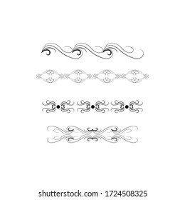 Decorative swirls dividers. Elegance line for frame, invitation. Delimiter old text, calligraphic swirl border ornaments and vintage divider Ornament curl, calligraphy victorian lines Vector icons set