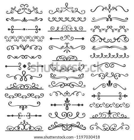 Decorative swirls dividers. Old text delimiter, calligraphic swirl border ornaments and vintage divider. Ornament swirls calligraphy victorian flourishes lines vector isolated icons set