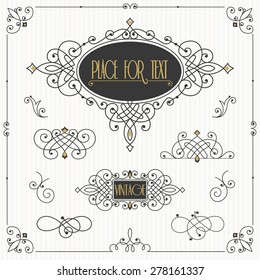 Decorative swirls vector set. Vintage borders, vignettes, scroll elements