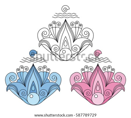 Decorative Symmetrical Abstract Lotus Flower Shell Stock Vector