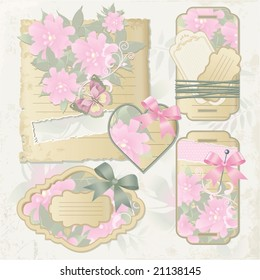 decorative tags and paper sheets