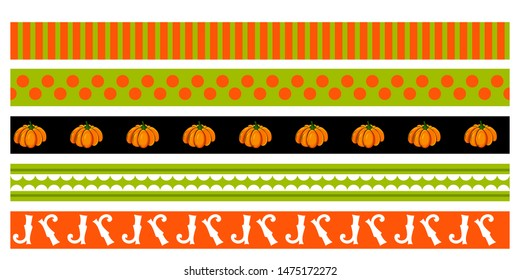 Decorative tape for Halloween party .Сolor geometric ornament, pumpkin, witch boots.Vector illustration  Cartoon style. Pattern for decor of Invitations,poster, postcard, textiles.