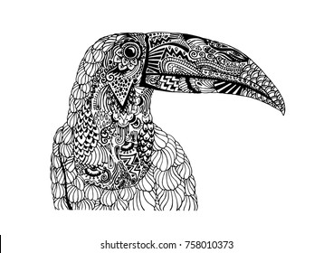 Decorative, tattooed toucan bird illustration. Black and white ornamental drawing with doodle style swirls, scales, feathers and flourishes.