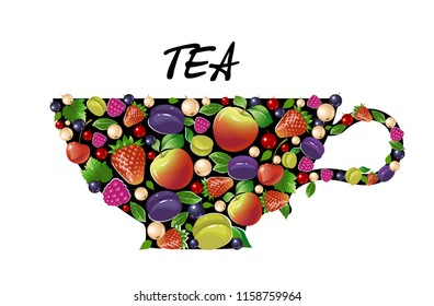 Decorative tea Cup with fruits and berries on white background. Vector.