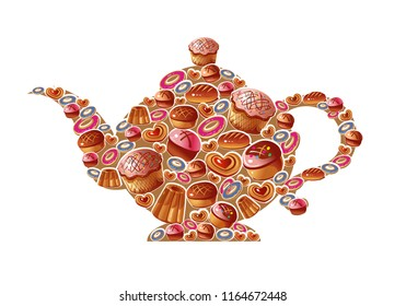 Decorative teapot is made up of different culinary and pastry isolated on white background. Vector.