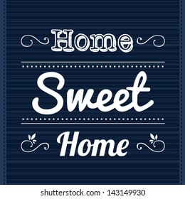 Decorative template frame design with slogan Home Sweet Home, vector background illustration