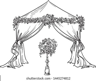 decorative tent for a party or wedding with flower decorations,  vector illustration