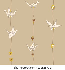 Decorative texture with paper cranes and threads. Seamless pattern with paper cranes and beads