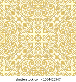 Decorative tile pattern in arabesque style. Monochromatic seamless pattern, perfect for backgrounds, textures and wallpaper designs. Vector illustration.