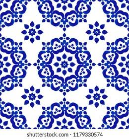 decorative tile pattern, Porcelain background, blue and white floral decor vector illustration, beautiful ceiling backdrop, ceramic design