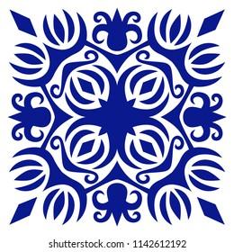 Decorative tile, vector ornament for ceramic. Navy blue ornate mosaic