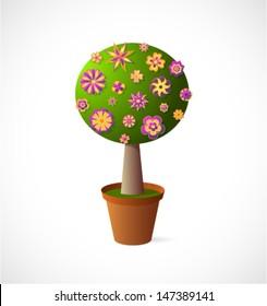 Decorative tree cartoon in the pot
