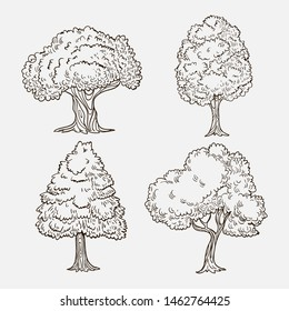 Decorative tree collection - vector