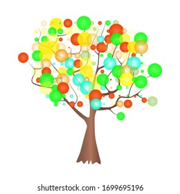 Decorative tree isolated on white background. Tree with colored bubbles around the branches for logo, icon and symbol. Stylized tree with circle shaped leafe for print and web. Stock vector