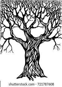 Decorative tree painted in hand in vector.