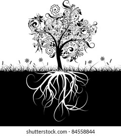 Decorative tree and roots, grass, vector illustration