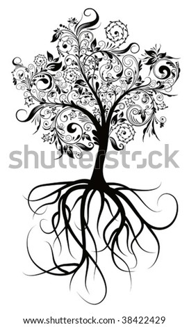 Decorative tree & roots , vector illustration