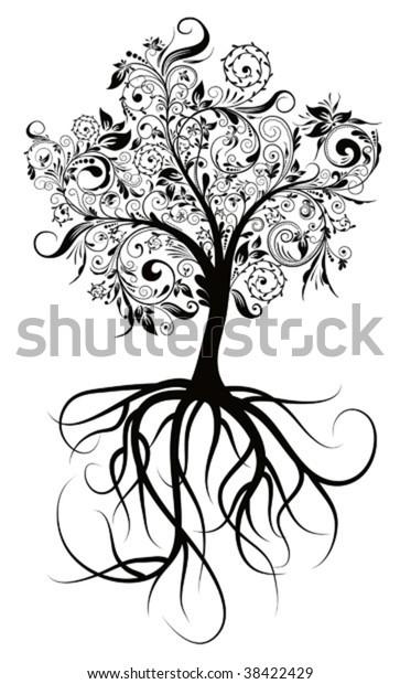 Decorative tree & roots , vector illustration