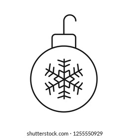 Decorative tree toy vector symbol. New year tree toy vector sign. Christmas ball icon. Hanging xmas bauble toy ball icon. Christmas bauble ball linear icon