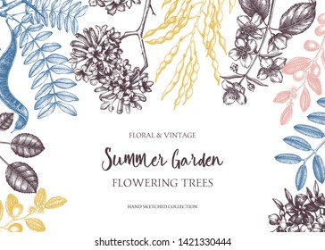 Decorative trees background. Floral card or invitation design. Trees in flowers illustration. Summer plants frame with flowers, leaves, beans, branches. Vector outlines. Botanical elements.