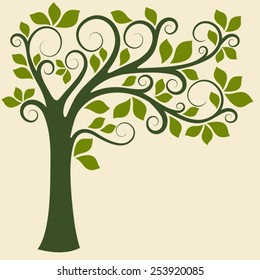 Decorative trees background. Spring banner.